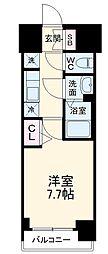 名古屋市営名城線 東別院駅 徒歩2分の賃貸マンション 4階1Kの間取り