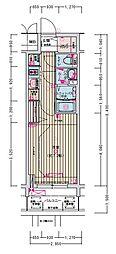 名古屋市営名城線 東別院駅 徒歩2分の賃貸マンション 6階1Kの間取り