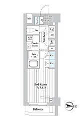プレール・ドゥーク新宿West 4階1Kの間取り
