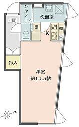 Solana Takanawadai 1階ワンルームの間取り