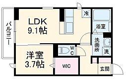 ラインハット 1階1LDKの間取り