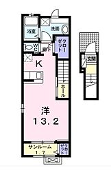 JR東海道本線 浜松駅 バス10分 浜松学院高校下車 徒歩2分の賃貸アパート 2階1Kの間取り