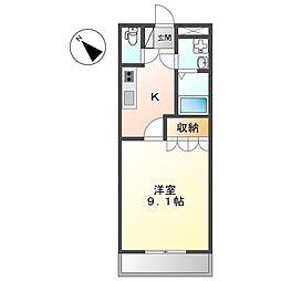 東武伊勢崎線 太田駅 徒歩22分の賃貸アパート 2階1Kの間取り