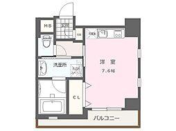 福岡市地下鉄空港線 大濠公園駅 徒歩9分の賃貸マンション 7階1Kの間取り