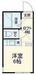 ユナイト南太田モン・ベルラン 2階ワンルームの間取り
