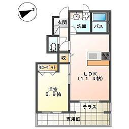 JR東海道本線 平塚駅 バス14分 大念寺前下車 徒歩1分の賃貸アパート 1階1LDKの間取り