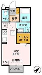 JR常磐線 土浦駅 3.2kmの賃貸アパート 1階ワンルームの間取り