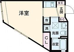 東急大井町線 北千束駅 徒歩4分の賃貸マンション 3階1Kの間取り