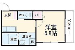 L&CスターハイツNo.17 2階1Kの間取り