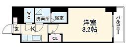 名古屋市営東山線 新栄町駅 徒歩6分の賃貸マンション 5階1Kの間取り