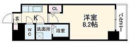 名古屋市営東山線 新栄町駅 徒歩6分の賃貸マンション 11階1Kの間取り