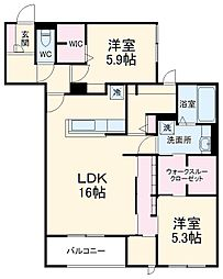 (仮称)D-room北桜塚3丁目 3階2LDKの間取り
