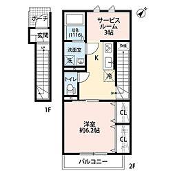 東武伊勢崎線 武里駅 徒歩4分の賃貸アパート 2階1SKの間取り