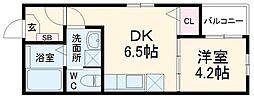 ハーモニーテラス鈍池町II 3階1DKの間取り