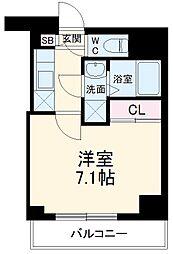 リライア阪東橋SOUTH 7階1Kの間取り