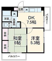 大宮サッカービル 5階2Kの間取り