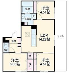 (仮称)D-room上野東二丁目 1階3LDKの間取り