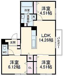 (仮称)D-room上野東二丁目 3階3LDKの間取り