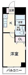ボナクオリアXVI 市川南 3階1Kの間取り