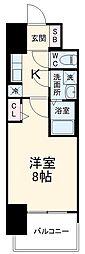 近鉄名古屋線 近鉄四日市駅 徒歩10分の賃貸マンション 2階1Kの間取り
