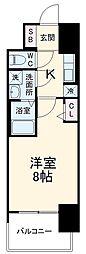 近鉄名古屋線 近鉄四日市駅 徒歩10分の賃貸マンション 7階1Kの間取り