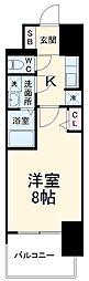 近鉄名古屋線 近鉄四日市駅 徒歩10分の賃貸マンション 13階1Kの間取り