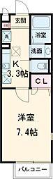クロスコート町田A棟 1階1Kの間取り
