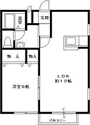 JR総武本線 榎戸駅 徒歩5分の賃貸アパート 2階1LDKの間取り