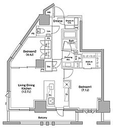 東急東横線 都立大学駅 徒歩11分の賃貸マンション 7階2LDKの間取り