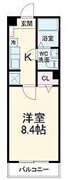 東武伊勢崎線 東武動物公園駅 徒歩8分の賃貸アパート 2階1Kの間取り