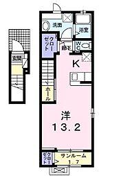 JR常磐線 荒川沖駅 5.7kmの賃貸アパート 2階1Kの間取り
