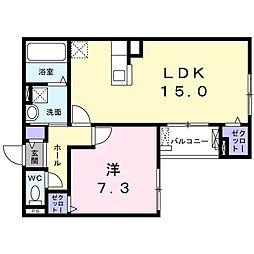 おおさか東線 JR淡路駅 徒歩12分の賃貸アパート 2階1LDKの間取り