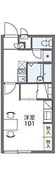 JR両毛線 新前橋駅 徒歩25分の賃貸アパート 1階1Kの間取り