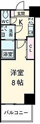 京王線 府中駅 徒歩2分の賃貸マンション 6階1Kの間取り