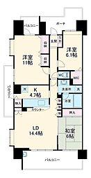 セントラルスウィート大宮桜木町 14階3LDKの間取り