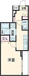 JR埼京線 北赤羽駅 徒歩12分の賃貸マンション 2階1Kの間取り