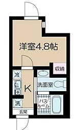 フェリーチェ中野坂上E 2階ワンルームの間取り