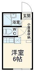ユナイト南太田バルト・ロメオ 2階ワンルームの間取り
