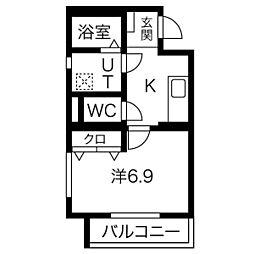 JR東海道本線 沼津駅 徒歩6分の賃貸マンション 1階1Kの間取り