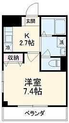 西武池袋線 所沢駅 徒歩7分の賃貸マンション 3階1Kの間取り