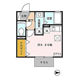 名古屋市営桜通線 神沢駅 徒歩6分の賃貸アパート 1階ワンルームの間取り