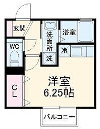 名古屋市営桜通線 神沢駅 徒歩6分の賃貸アパート 2階ワンルームの間取り
