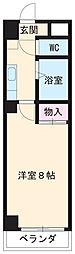 名鉄名古屋本線 矢作橋駅 徒歩4分の賃貸マンション 5階1Kの間取り