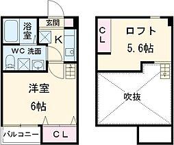JR常磐線 松戸駅 徒歩9分の賃貸アパート 2階1Kの間取り