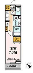 JR中央線 豊田駅 徒歩15分の賃貸アパート 1階1Kの間取り