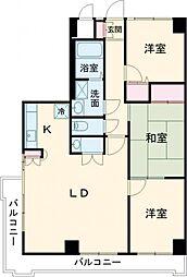 JR中央線 立川駅 徒歩8分の賃貸マンション 6階3LDKの間取り