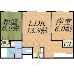 橋本マンション 4階2LDKの間取り