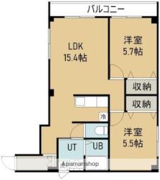 函館市電5系統 湯の川駅 徒歩3分の賃貸マンション 2階2LDKの間取り