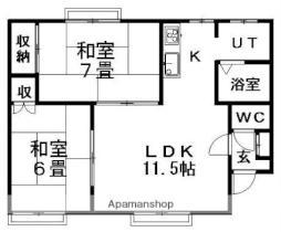 レジデンス上野幌A 2階2LDKの間取り