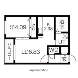 札幌市営東西線 南郷13丁目駅 徒歩4分の賃貸マンション 4階1LDKの間取り